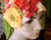 womens bathing cap Ooh Lala Scrunchie Chemo Hat oranges and lemons tropical  floral  Beanie slouchy Hat bathing cap Chemo Headwear