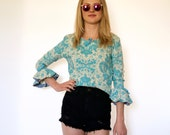 60s Victorian Tapestry Print Cropped Ruffle Sleeve Blouse xs s