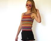 90s Colorful Stripe Sporty Sweater Halter Tank xs s
