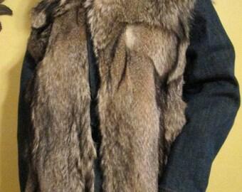 Fox Fur Denim Jacket.  Fox Fur Coat.  Fox Fur Jacket.  Denim Fur Jacket.