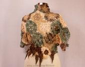 Green Brown Shrug, Lace Bolero, Boho Cover Up, Crochet Lace Shrug, Crop Bolero Vest, Fall Colors Shrug with Leather Leaves Vest Cape / S M L