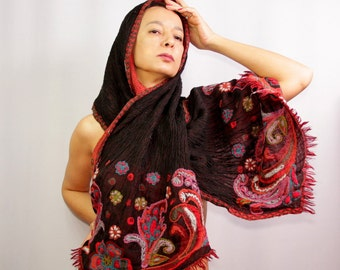 Wool Pashmina Scarf, Paisley Red Black Pashmina Shawl, Infinity, Cozy, Wool Woven, Hand Embroidery Flower Shawl, Gift For Women Accessories