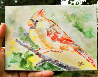 Cardinal, Watercolor Painting, Female Cardinal, Ready to Ship, original, Christmas Gift, 5x7, Original Bird Painting, red, green, yellow