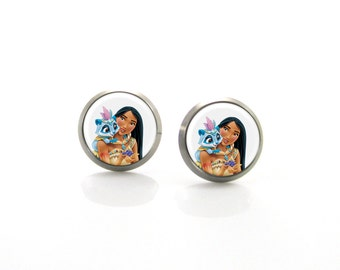 Pocahontas Disney Princess Titanium Post Earrings | Hypoallergenic Sensitive Stud | Titanium Baby Cute Girls Children earrings