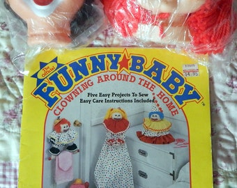 Funny Baby Book by Fibre Craft & 2 Clown Heads and One Red Doll Head Patterns for Dolly Baby Diaper and Pajama Bag and more