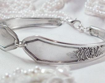 Spoon Bracelet, FREE ENGRAVING, Bridesmaid Bracelet, Bridesmaid Gift, Silverware Jewelry, Silver Bracelet, Vintage Wedding ROSEDALE 1933