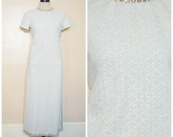 60s Silver Maxi Dress Sequin Collar Medium Metallic Sparkle Formal Dress
