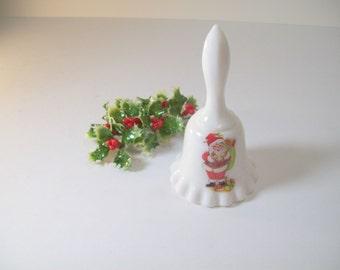 Vintage Bell Santa Claus Christmas White Milk Glass 1980s