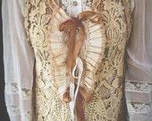 Altered Couture, Tea Dyed Lace Vest, Boho Chic Lace Vest, Priate Lace Vest, Tattered, Vintage/Antique Trims