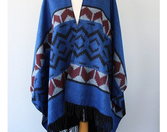 Autumn fall fashion Aztec poncho tribal cape Women clothings native outerwear Winter poncho Blue and burgundy