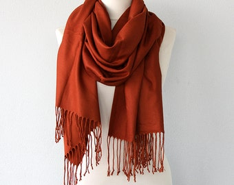 Pashmina shawl Rust scarf Thick Pashmina wrap Fringe shawl Boho chic Bohemian Winter accessories Solid color shoulder scarf
