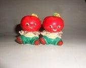 Anthropomorphic Baby Tomato Salt and Pepper Set Beautiful Ripe Vintage Porcelain Cuties