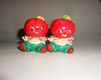 Anthropomorphic Baby Tomato Salt and Pepper Set Beautiful Ripe Vintage Porcelain Cuties