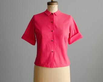 Polka Dot 50s Blouse - Vintage 1950s Shirt - Dipdot Blouse