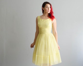 Vintage 1960s Party Dress - 60s Chiffon Dress - Lemon Meringue Dress