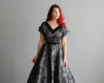 Vintage 1950s Dress - 50s Party Dress - Silver Screen Dress