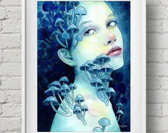 Beauty in the Breakdown : print mushroom girl watercolor painting