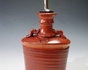 Oil or vinegar bottle with shino glaze