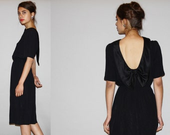 1980s Backless Little Black Dress LBD -  Backless Dress  -  Vintage Black Dress  - WD0868