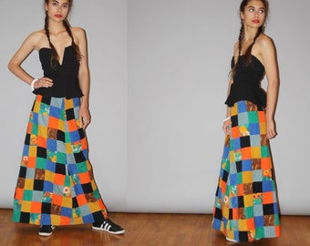 Vintage 1960s Quilted Patchwork Hippie Rainbow Festival Maxi Skirt  - Vintage Maxi Skirts - Vintage Long Skirt  - WB0522