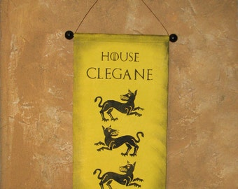 Hand Painted House Clegane Canvas Banner - Game of Thrones - Sigil - The Hound Sandor - The Mountain Gregor - Wall Hanging - Flag - Sign