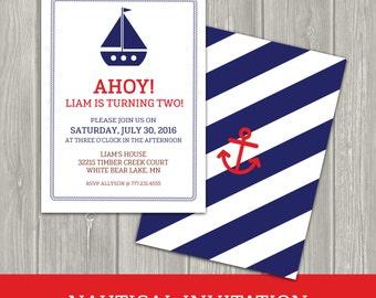 Boy Birthday Invitation - Nautical Birthday Invitation - Ship Invitation - Anchor - Sailboat - Nautical Birthday Party