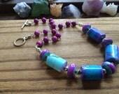 Purple and blue Tie dye stone strand necklace, purple stone bead strand