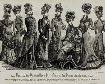 1899 Antique large FASHION print. french fashion ladies, original antique print
