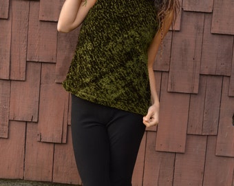 Vintage 60s Forest Green High Neck Tank Cowl Top Blouse Chanel