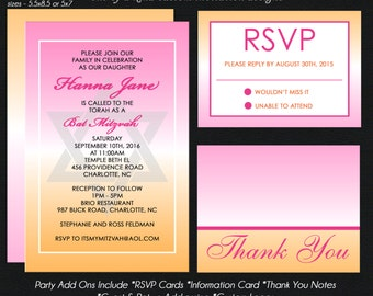 Orange and Pink Bat Mitzvah Invitation, Rsvp Reply Card, Information Card, Thank You Notes USE for ANY Event