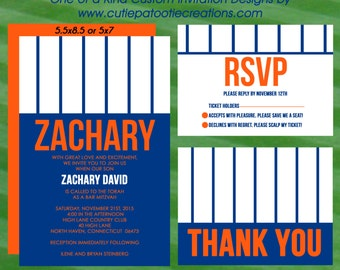 Bar Mitzvah Invitations - Baseball Stripes - Orange Blue and White - RSVP Reply Card - Thank You Notes - Insert Card - Custom Design