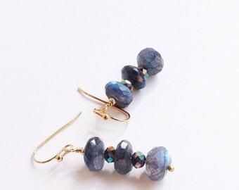 Laboradorite Dangle Earrings, Labradorite Dangle Earrings, Labradorite Drop Earrings, Gemstone Dangle Earrings, Small Labradorite Earrings