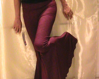ATS, Tribal Belly Dance, Festival and Flamenco flare pants in silky Berry pink Lycra- MEDIUM