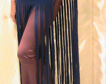 ATS Tribal Belly dance Fringed belt, apron, hip scarf  in blue with hand cut extra long fringe and Sheesha trim