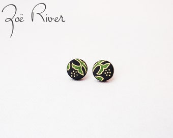 Black and green lightweight post earrings - surgical steel, nickel free and lead free ear posts