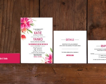 Modern Floral Poster Wedding Invitations,Modern Pink Floral Wedding Invitations,Floral Wedding Invite,Boho Floral Poster Wedding Invitations