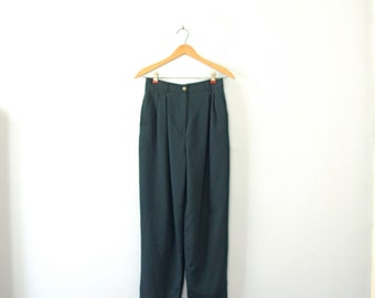 Vintage 90's high waisted dark green wool pants with pleats, trousers, size 6