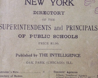 Antique Book New York 1902 Directory of Public School Principal Superintendent Book Vintage Reference Booklet