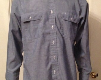 Fieldmaster Shirt Mens Size Medium Long Sleeve Chambray Vintage Sz M Made in USA