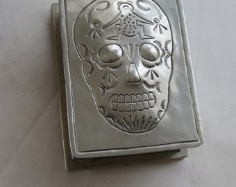 SALE - Handmade Mexican Sugar Skull Silver plated or alloy Trinket Box  - 40 dollars off until end of October