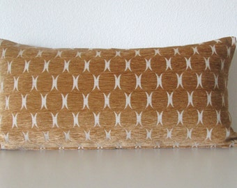 Geometric Ogee lattice Plush Amber decorative pillow cover chenille gold
