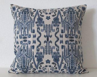 16x16 Mumbai Indian Blue Ikat Pillow Cover