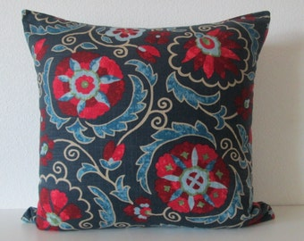 Jaclyn Smith Suzani blue red decorative pillow cover