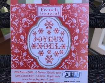 "SALE - AURIFIL THREAD Set: ""Joyeux Noel"" by French General -Mixed Collection Set (50 wt cotton) and (6 strand floss) 10 Spools"