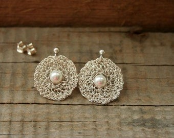 Pearl Earrings. White Pearl Earrings. Wire Crochet Earrings. Wire Crochet Silver Jewellery. Bridal Jewellery. MADE to ORDER.