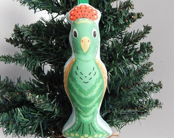 Green Peacock Fabric Christmas Ornament Mid Century Style
