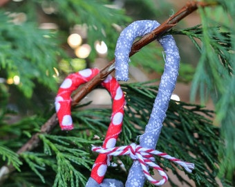 Set of 2 handmade fabric wrapped wire mini candy canes  Christmas decoration