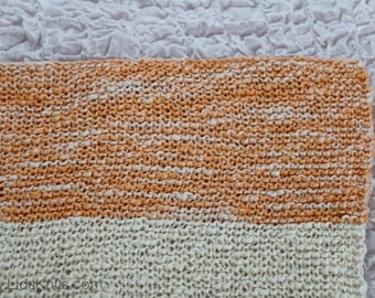 Baby Orange Hand Knit Organic Cotton Blanket