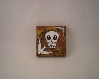 Original Acrylic painting Skull and sparrow