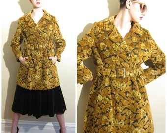 Vintage 1960s Tapestry Coat in Orange and Brown / 60s Button Down Velvet Coat or Jacket / Small